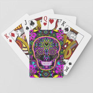 Sugar Skull Neon Pink Playing Cards