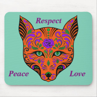 Sugar Skull Orange and Purple Wolf Head Mouse Pad