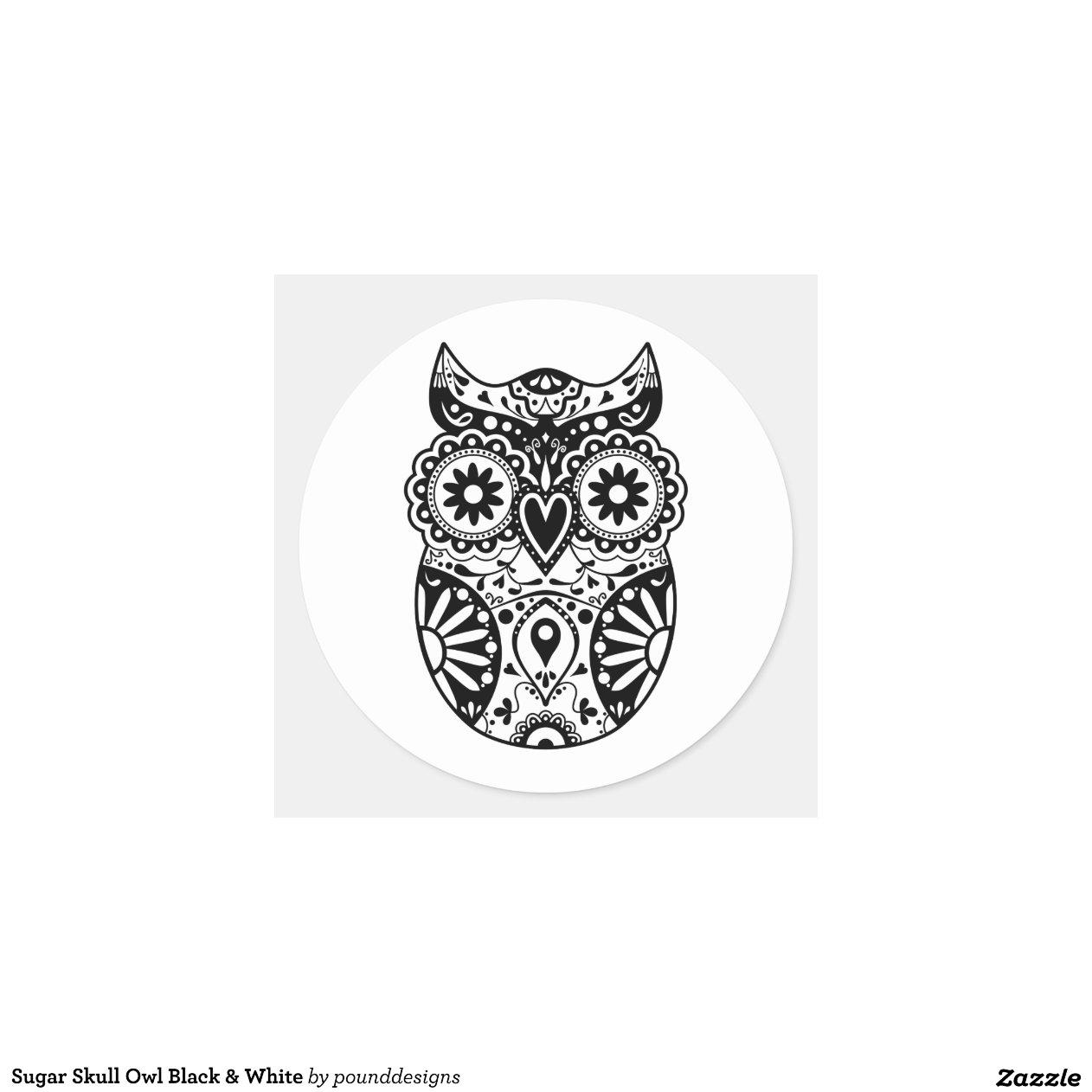 Sugar Skull Owl Black & White Round Stickers | Zazzle