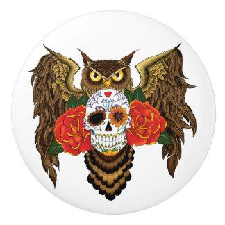 Sugar Skull Owl Ceramic Knob
