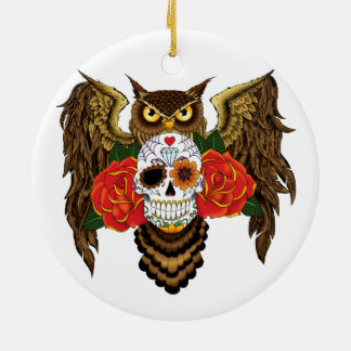 Sugar Skull Owl Christmas Tree Ornament