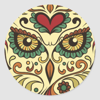 Sugar Skull Owl Head Round Sticker