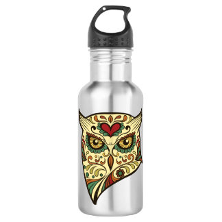 Sugar Skull Owl - Tattoo Design 532 Ml Water Bottle