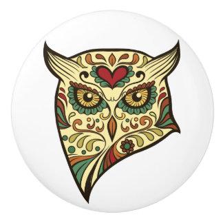 Sugar Skull Owl - Tattoo Design Ceramic Knob