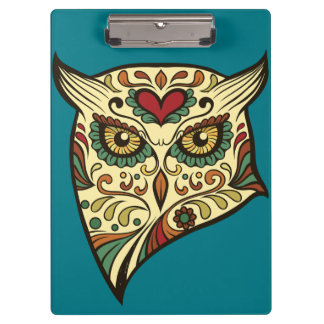 Sugar Skull Owl - Tattoo Design Clipboard