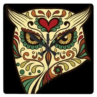 Sugar Skull Owl - Tattoo Design Clocks