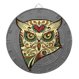 Sugar Skull Owl - Tattoo Design Dartboard
