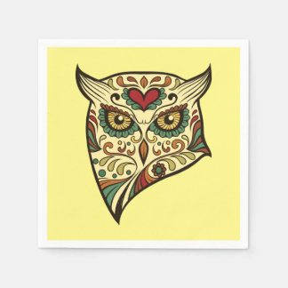 Sugar Skull Owl - Tattoo Design Disposable Napkin