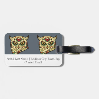 Sugar Skull Owl - Tattoo Design Luggage Tag