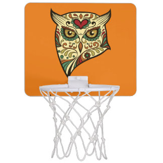 Sugar Skull Owl - Tattoo Design Mini Basketball Hoop