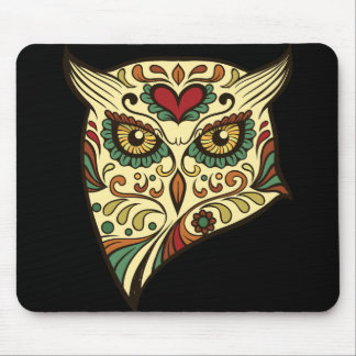 Sugar Skull Owl - Tattoo Design Mouse Pad