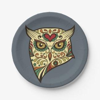 Sugar Skull Owl - Tattoo Design Paper Plate