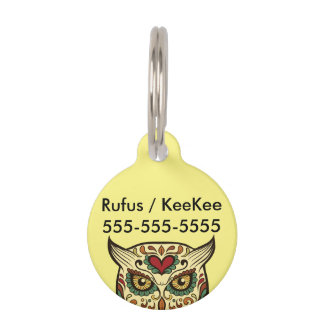 Sugar Skull Owl - Tattoo Design Pet ID Tag