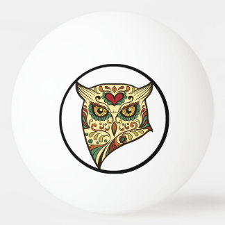 Sugar Skull Owl - Tattoo Design Ping Pong Ball