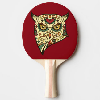 Sugar Skull Owl - Tattoo Design Ping Pong Paddle