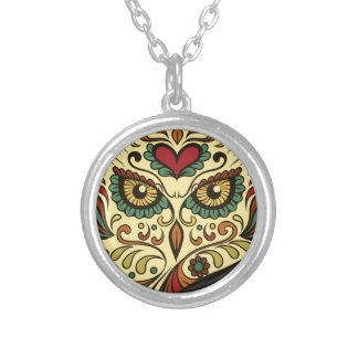 Sugar Skull Owl - Tattoo Design Silver Plated Necklace