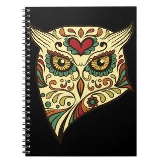 Sugar Skull Owl - Tattoo Design Spiral Notebook