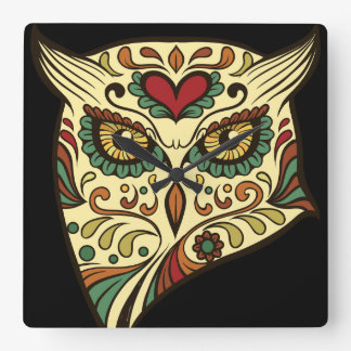 Sugar Skull Owl - Tattoo Design Square Wall Clock