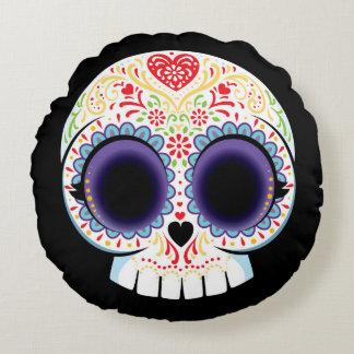 Sugar Skull Pillow Round Cushion