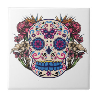 Sugar Skull Pink Roses Multi Colored Flowers Small Square Tile