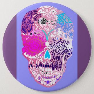 Sugar skull , Pink, sweet  skull with flowers 6 Cm Round Badge