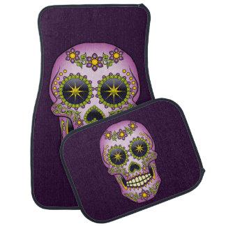 Sugar Skull Purple Floral Car Mat