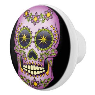 Sugar Skull Purple Floral Ceramic Knob