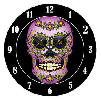Sugar Skull Purple Floral Clock