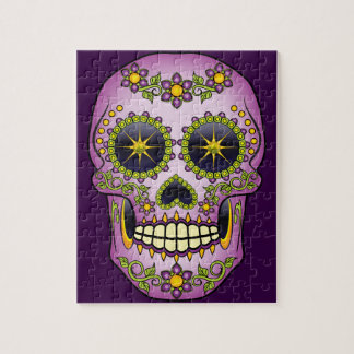 Sugar Skull Purple Floral Jigsaw Puzzle