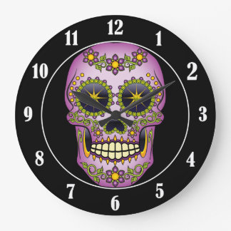 Sugar Skull Purple Floral Large Clock