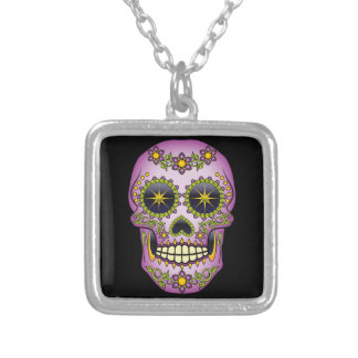 Sugar Skull Purple Floral Silver Plated Necklace