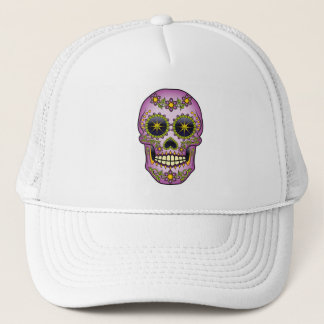 Sugar Skull Purple Floral Trucker Hat