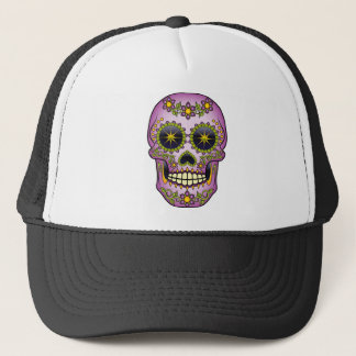 Sugar Skull - Purple Floral Trucker Hat