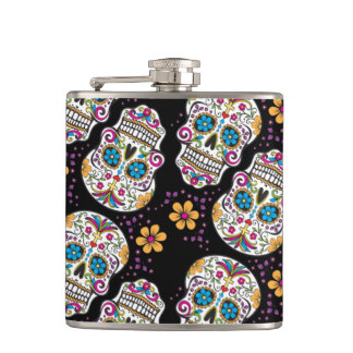 Sugar Skull Purple.png Hip Flask