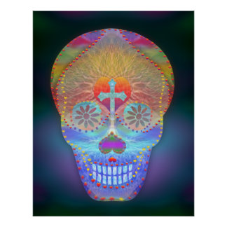 Sugar Skull, Rainbow Day of the Dead Poster