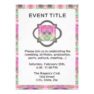 Sugar Skull Rainbow Heart Tree of Life Day of Dead Custom Invites