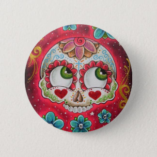 Sugar skull red 6 cm round badge