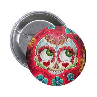 Sugar skull red 6 cm round badge