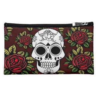 sugar skull retro red roses cosmetic make up bag cosmetics bags