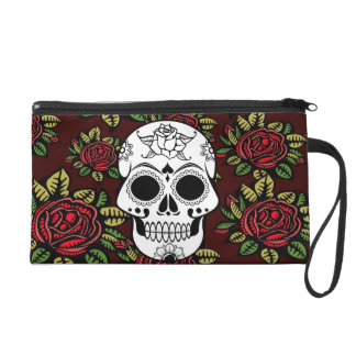 sugar skull retro red roses Wristlet mini clutch