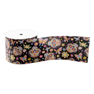 Sugar Skull Ribbon - Day of the Dead Skulls Grosgrain Ribbon