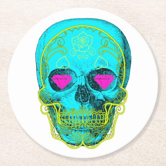 Sugar Skull Round Paper Coaster