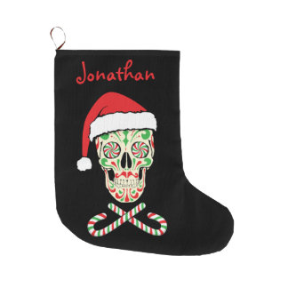 sugar skull santa large christmas stocking
