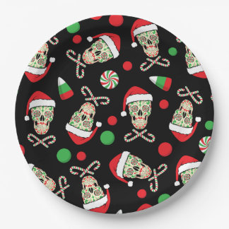 Sugar Skull Santa Paper Plate
