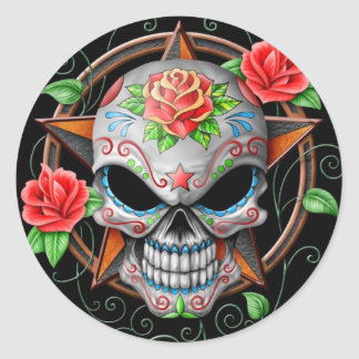 Sugar Skull Star, black Classic Round Sticker