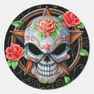 Sugar Skull Star, black Round Sticker