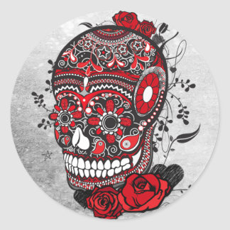 Sugar Skull Tattoo Design Mexican Illustration Round Sticker