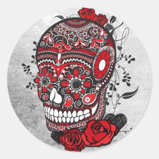 Sugar Skull Tattoo Design Mexican Illustration Round Sticker