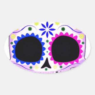 Sugar Skull - Tattoo Design Oval Sticker