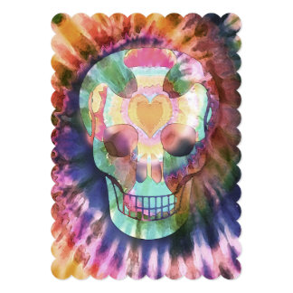 Sugar skull tie die colors beauty from within card